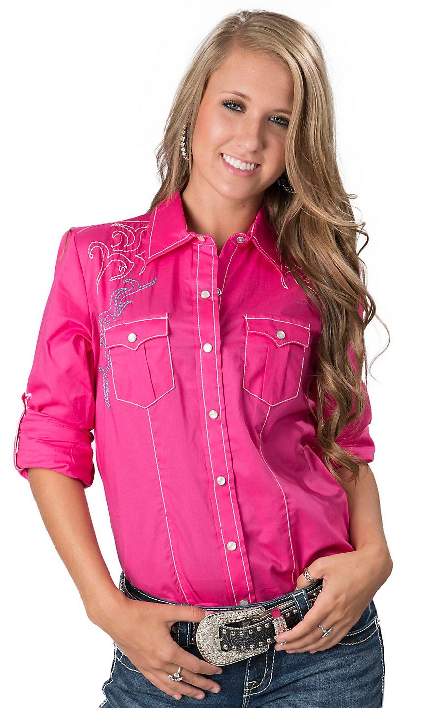 Wrangler Rock 47 >> Cruel Girl Women's Hot Pink with Embroidery Long Sleeve ...