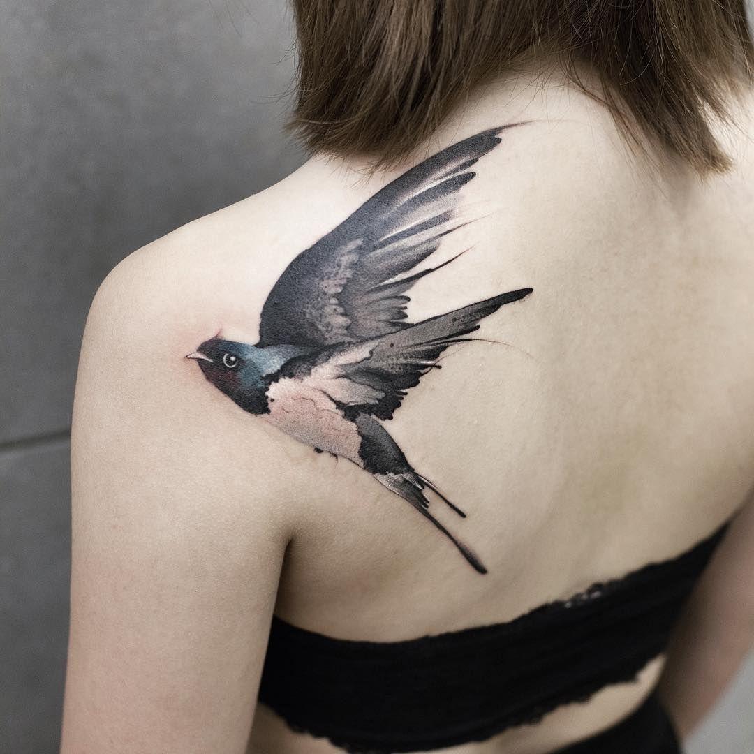 Chen Jie Newtattoo Bird Tattoo Red Heart Tattoos Shoulder Blade Tattoo Heart Tattoo