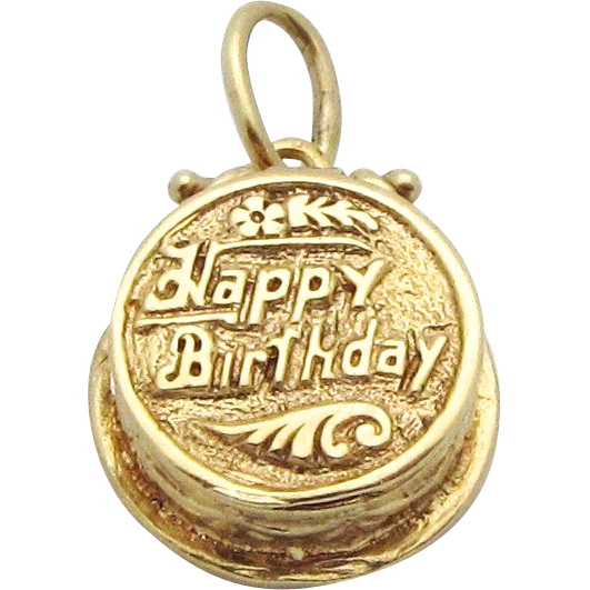 Vintage 14K Gold 3D Happy Birthday Cake Charm Opens to a Candle!..