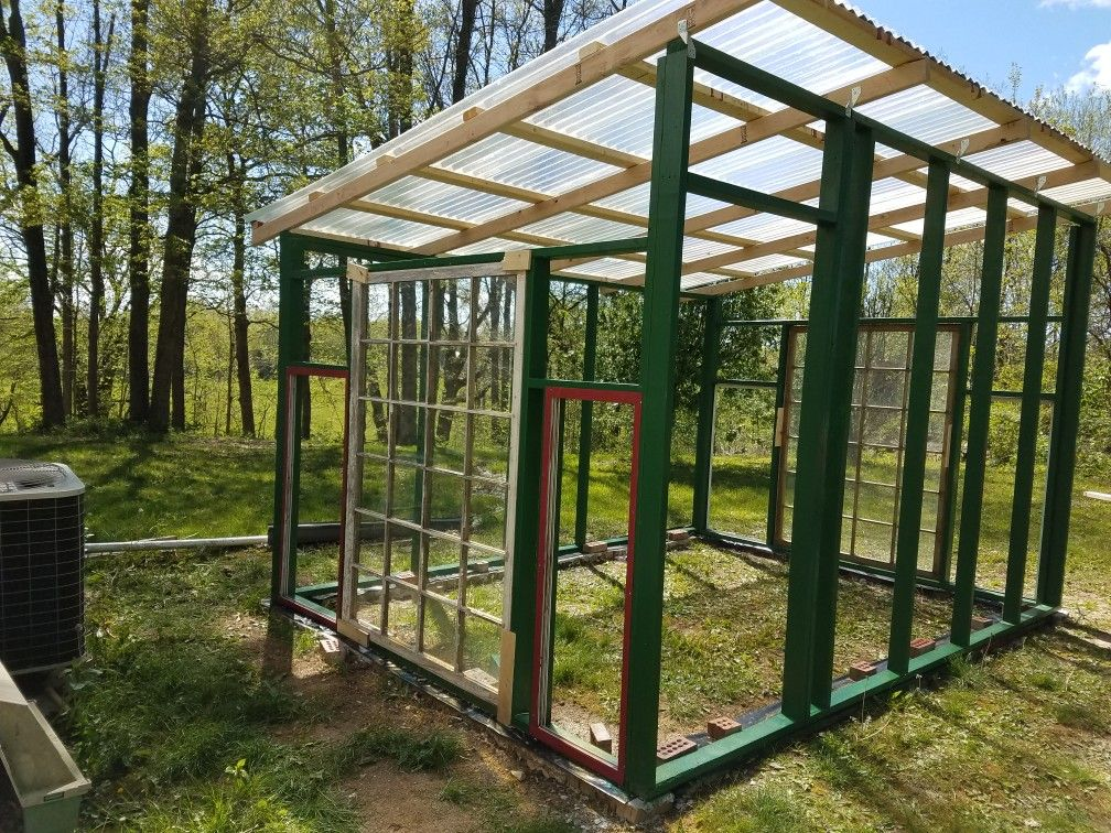 Installed Corrugated Fiberglass Roofing Fibreglass Roof Repurposed Windows House Windows