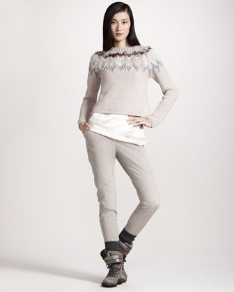 Feather-Trim Intarsia Sweater, Reversible Silk Camisole & Garment-Dyed Skinny Pants by Brunello Cucinelli at Neiman Marcus.72000-27000руб