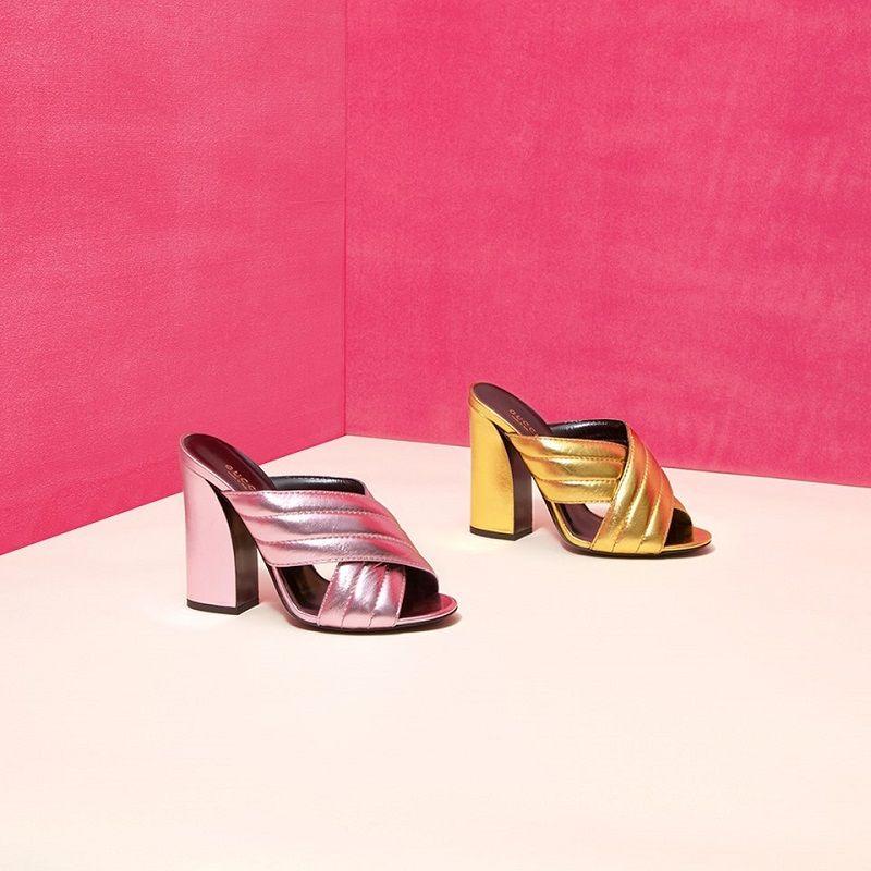 c7c952ff0 Gucci Webby Metallic Leather Mule Sandals | Favor Style|Women ...