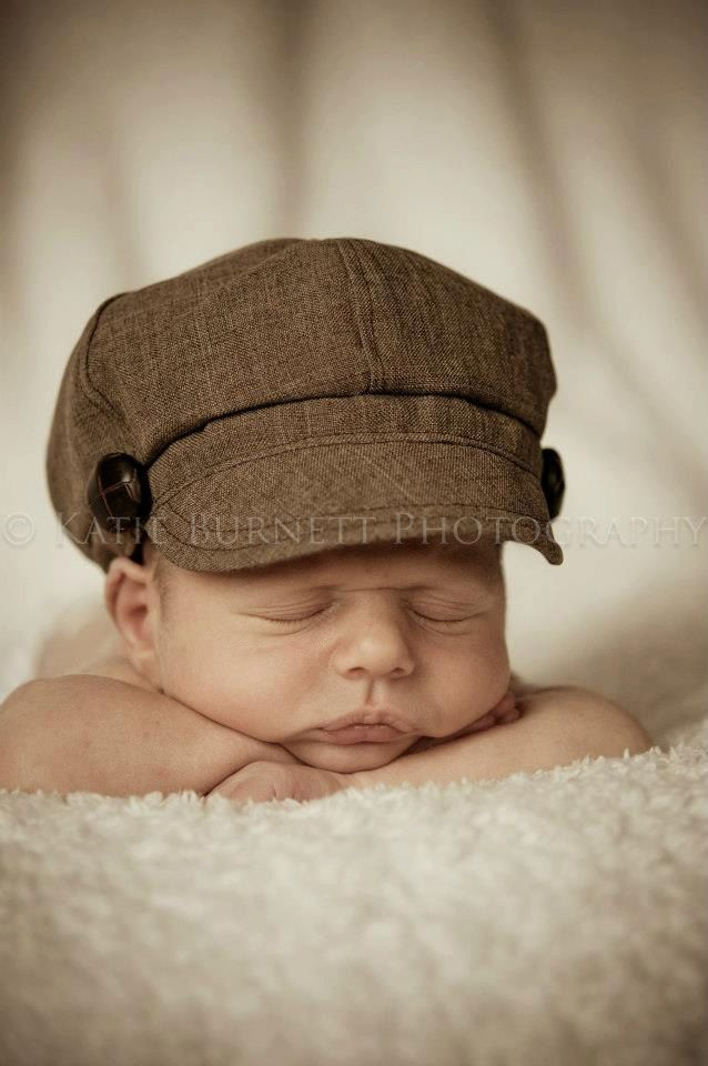 Newborn Baby Boy Toddler Infant Newsboy Hat Cap brown fabric material button fall Photography Prop special occasion wedding. $25.00, via Etsy.