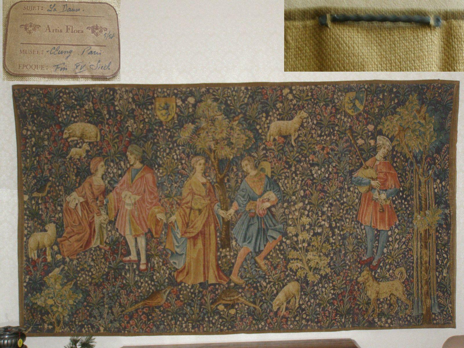 Tapisserie Ancienne La Danse 109x196cm Textile Ancien Gobelin