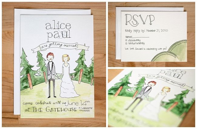 Whimsical Hand Drawn Wedding Invitations
