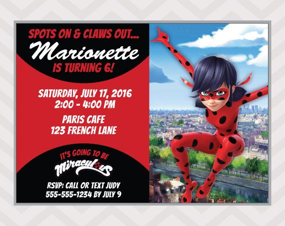 Miraculous Ladybug Birthday Invitation Printable By Zapparty