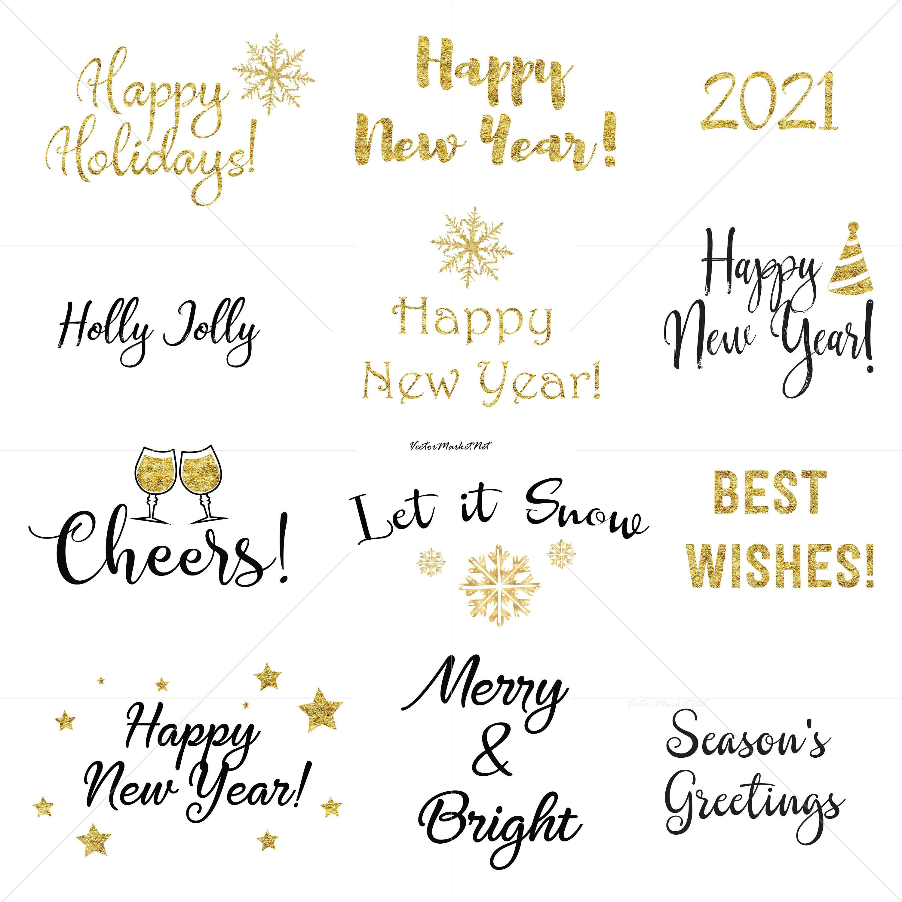 Happy New Year 2021 Clip Art Instant Download Christmas Concept Digital Clip Art In The Black Color And Gold Foil Clip Art Digital Clip Art Lettering