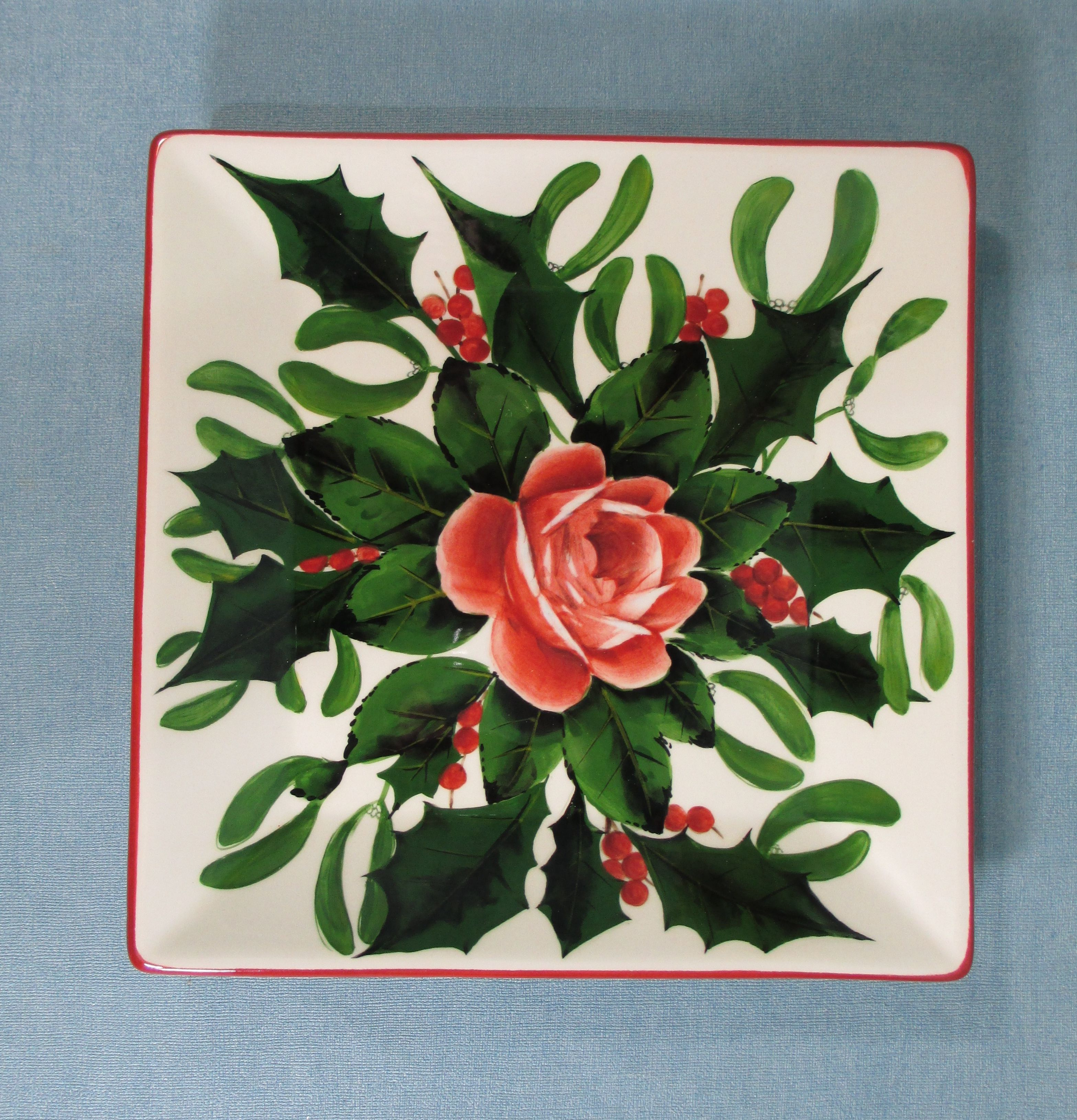 Christmas Wreath Wemyss Ware Square Plate by Griselda Hill Pottery Ltd