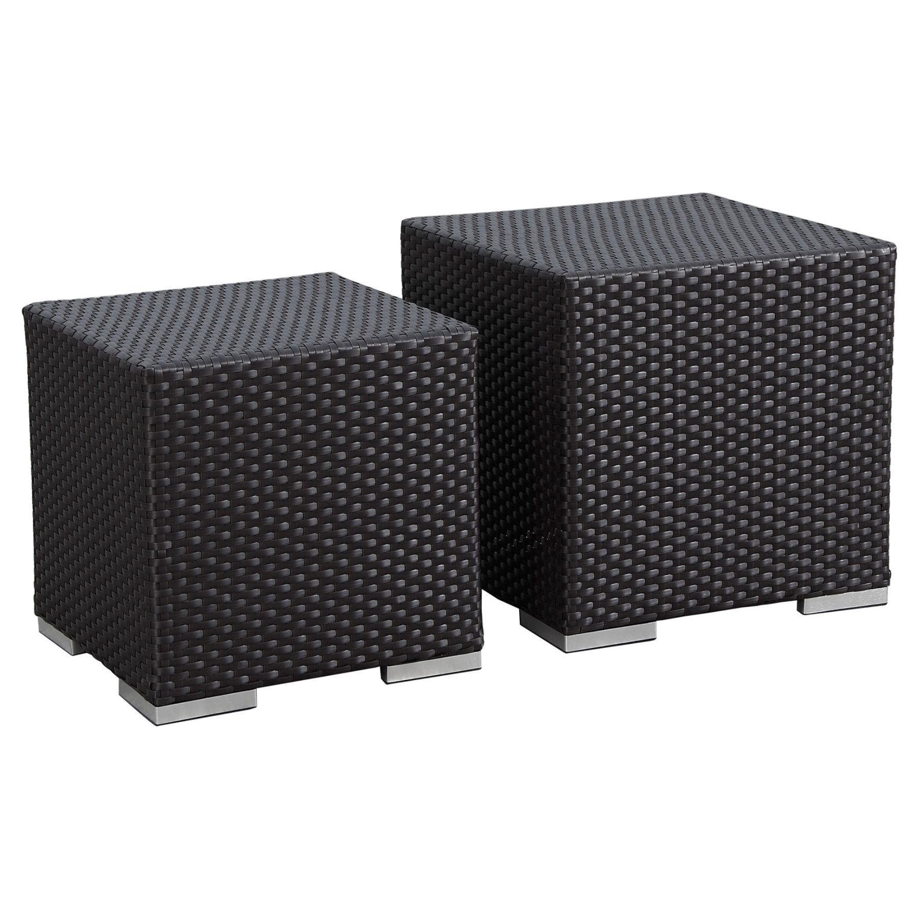 Outdoor Sunset West Solana Wicker Patio Nesting Tables   Set Of 2   1501 NTL