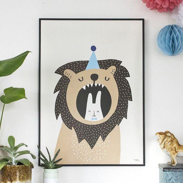 Lion And Bunny Poster - Michelle Carlslund