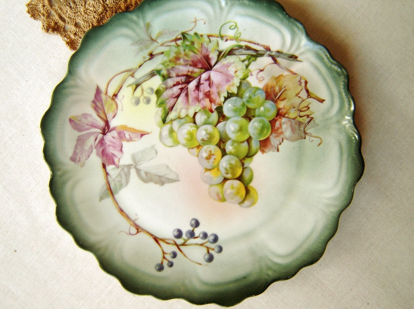 Hand Painted Plates : Vintage hand painted porcelain plate punch z s co