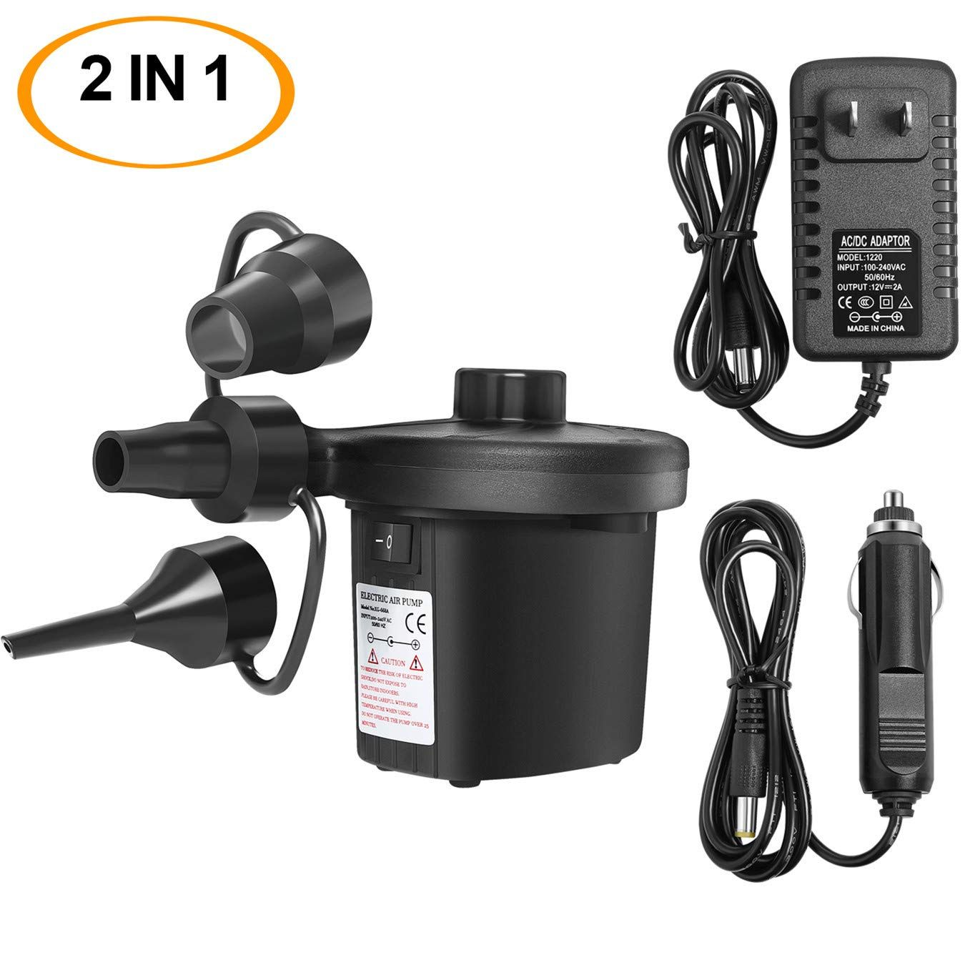 Cleverlife Electric Air Pump Portable Quick Fill 100v Ac 12v Dc Air Pump With 3 Nozzles Great Inflator Deflator Pumps For Out In 2020 Air Mattress Air Pump Inflators