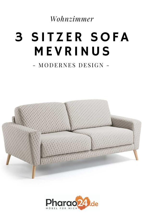 3 Sitzer Sofa Mevrinus In Beige Stoff Buche In 2020 3 Sitzer