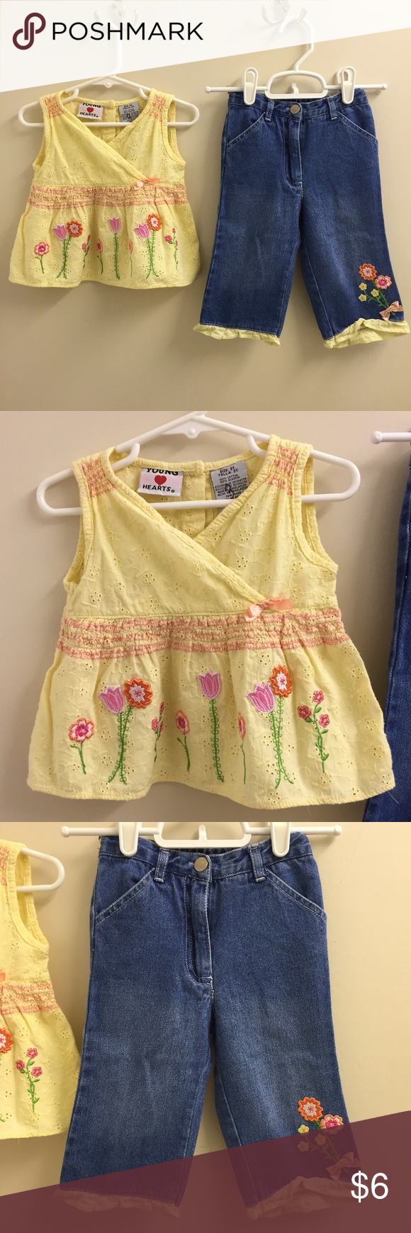 Young Hearts outfit Pretty yellow eyelet top and matching denim capri pants from Young Hearts.  In great condition! Matching Sets