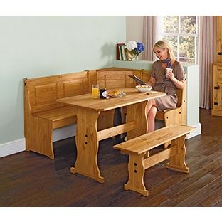 Awesome Home Puerto Rico Wood Nook Table 3 Corner Bench Set Nook Unemploymentrelief Wooden Chair Designs For Living Room Unemploymentrelieforg