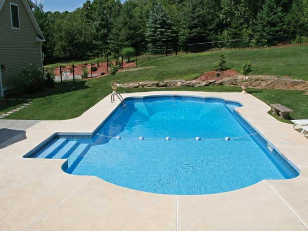 Legacy Pool Gallery Roman End Inground Pool Design Ideas Inground Pool Designs Swimming Pools Backyard Inground Inground Pool Landscaping
