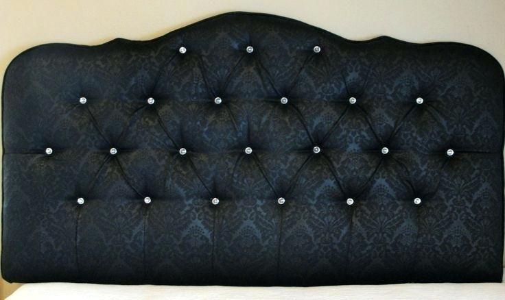 Black Velvet Tufted Headboard Alluring Damask Upholstered With Diamond Crystal Ons Image Of New In Minimalist Design Bla