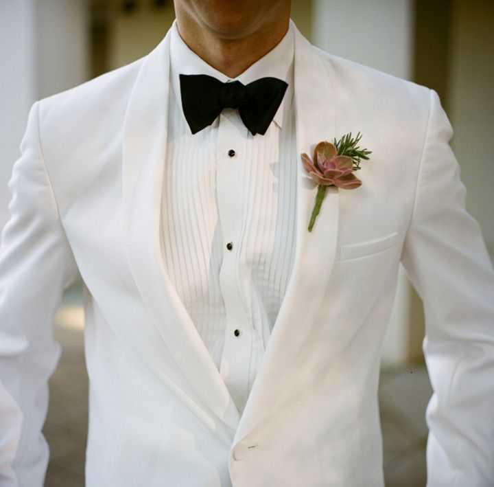 White Suits for the Groom | White tux, Succulent boutonniere and ...