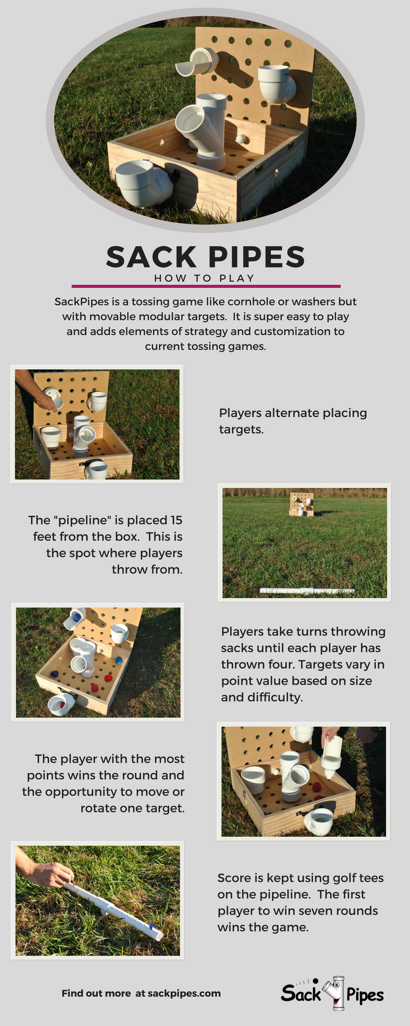 SackPipes is a new tossing game that adds elements of strategy and customization. Movable, modular targets means that every game is unique.