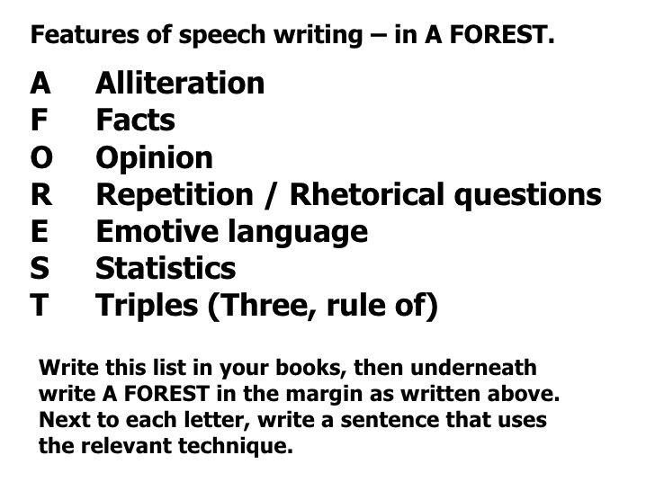 Features Of Speech Writing  In A Forest A Alliteration F Facts O