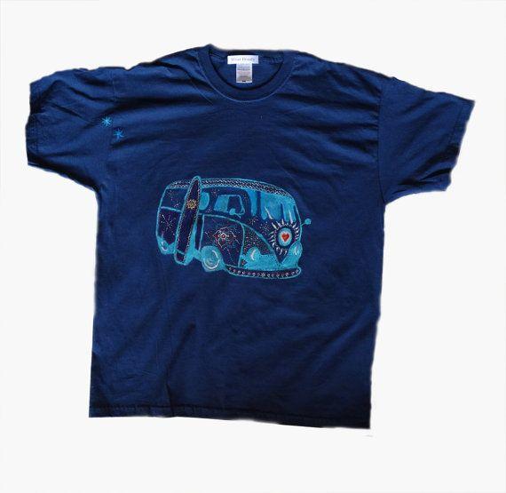Man Summer t-shirt Hippie T-shirt Hand painted shirt by WearBeauty