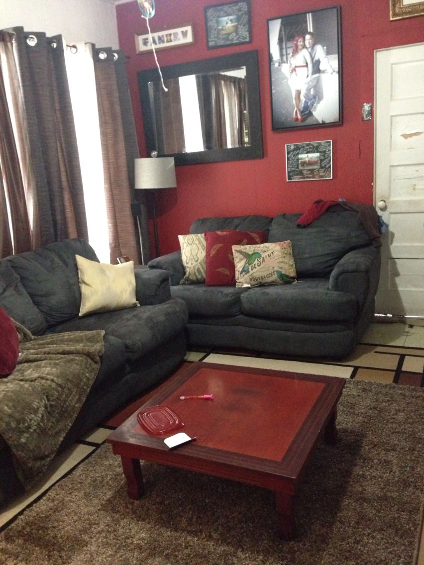 Rug layering with red accent wall 1 (With images) | Living ...
