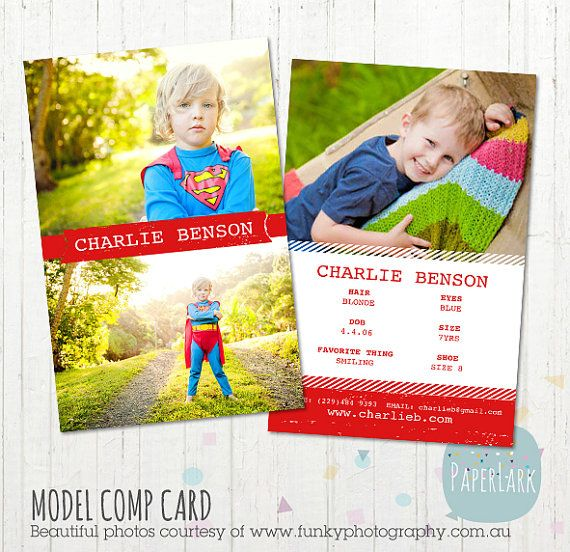 model comp card photoshop template am002 instant download