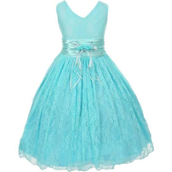 marine blue flower girl dress