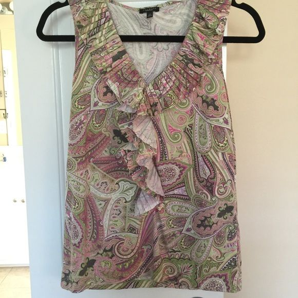 Talbots ruffled tank top Talbots paisely ruffled tank top, xs never worn. Talbots Tops Tank Tops