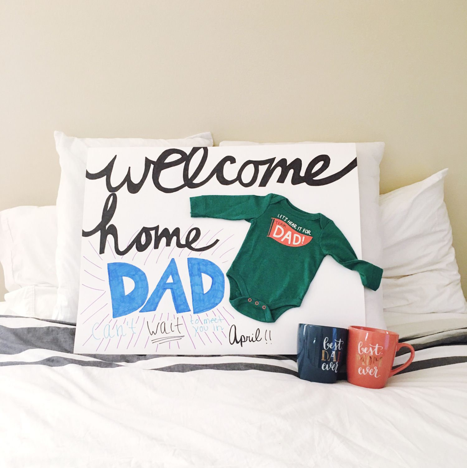 How to tell your husband you\'re pregnant - Welcome home Dad sign ...