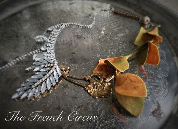 tuscan vine rhinestone assemblage necklace art by TheFrenchCircus