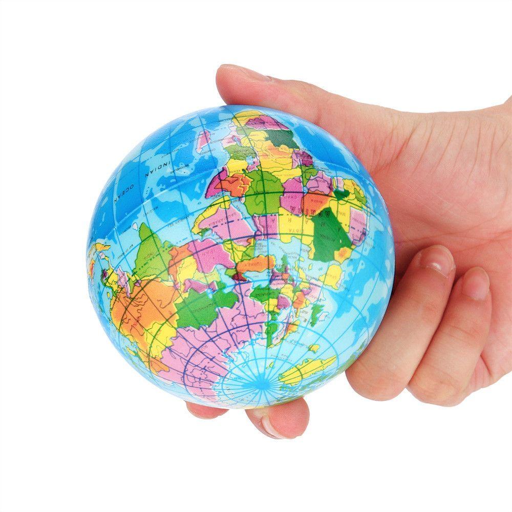 Stress Relief carte du monde BALLON EN MOUSSE Atlas Globe Palm Ball planète Terre Ballon UK