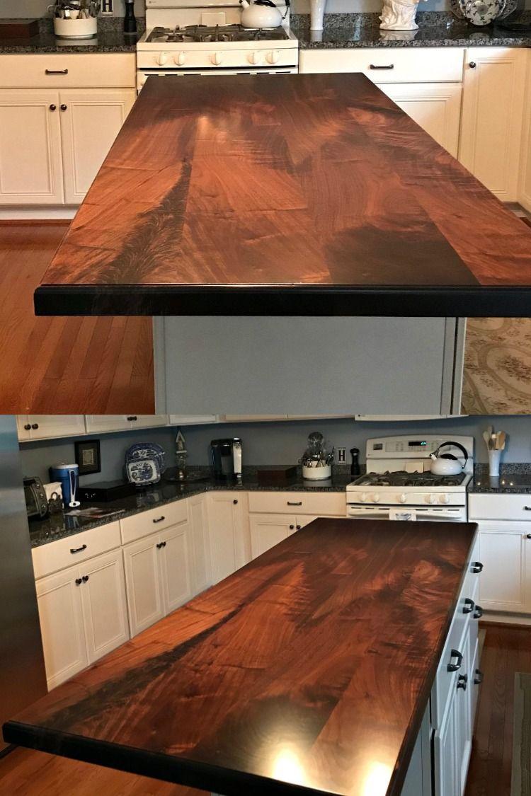 Walnut Wood Island Counter In 2020 Custom Kitchens Walnut Wood Wood Island