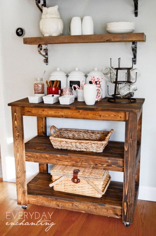 Learn How To Build An Easy Diy Entertaining Bar Cart From Everyday Enchanting For Remodelaholic Barcar Wood Bar Cart Diy Coffee Bar Wooden Bar Cart