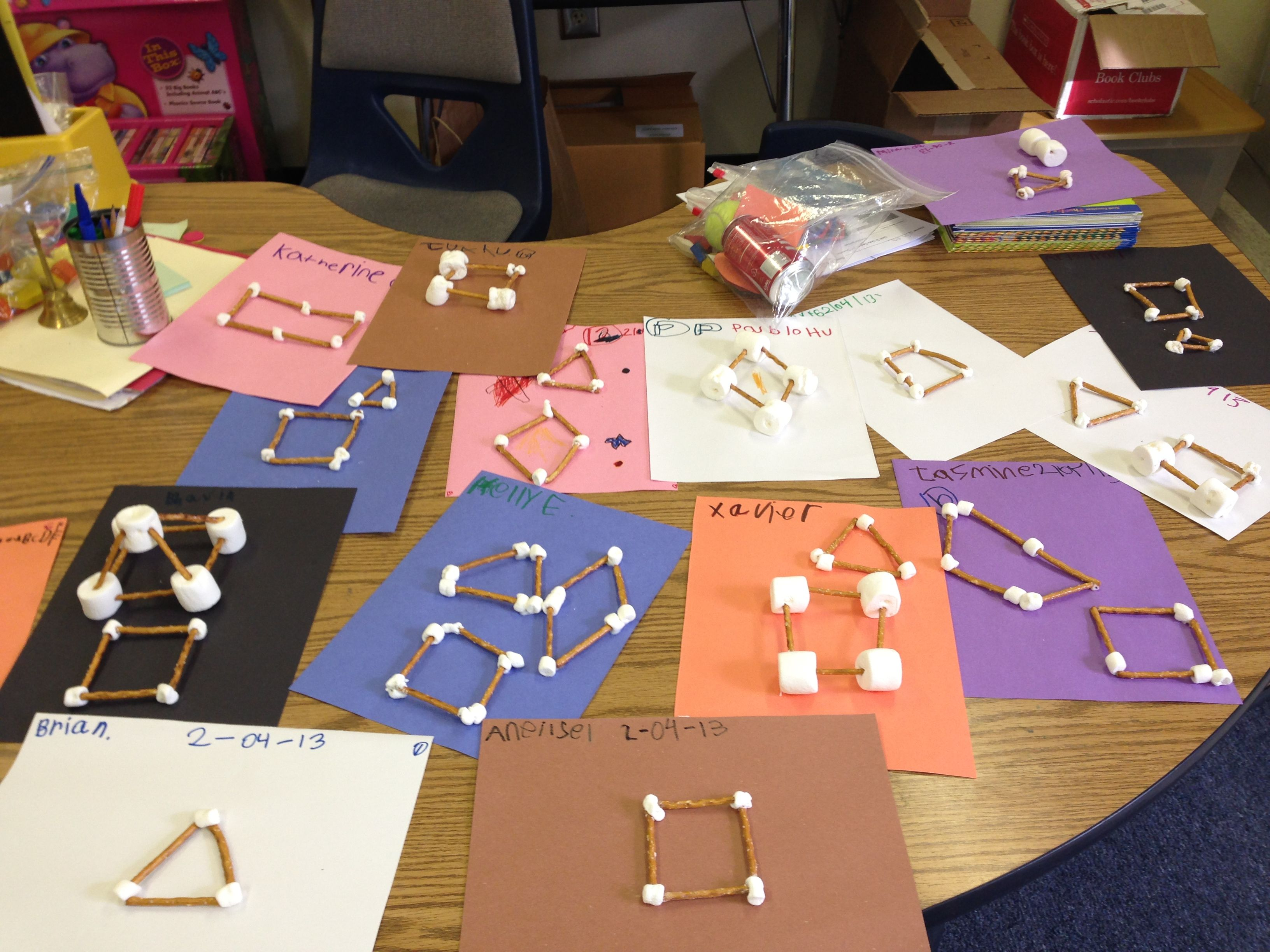 Building 2d & 3d Shapes With Pretzels And Marshmallows