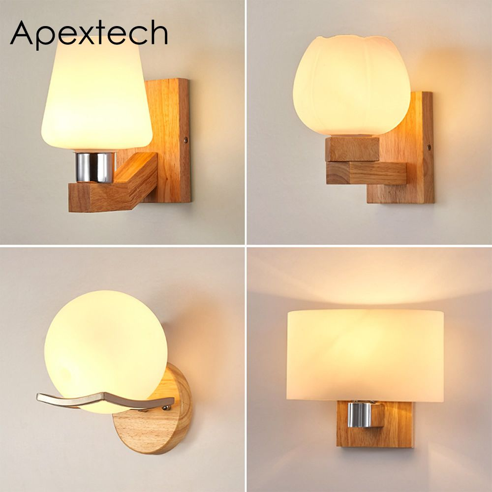 Apextech Oak Wood Wall Lamp Frosted Glass Shade Modern Nordic