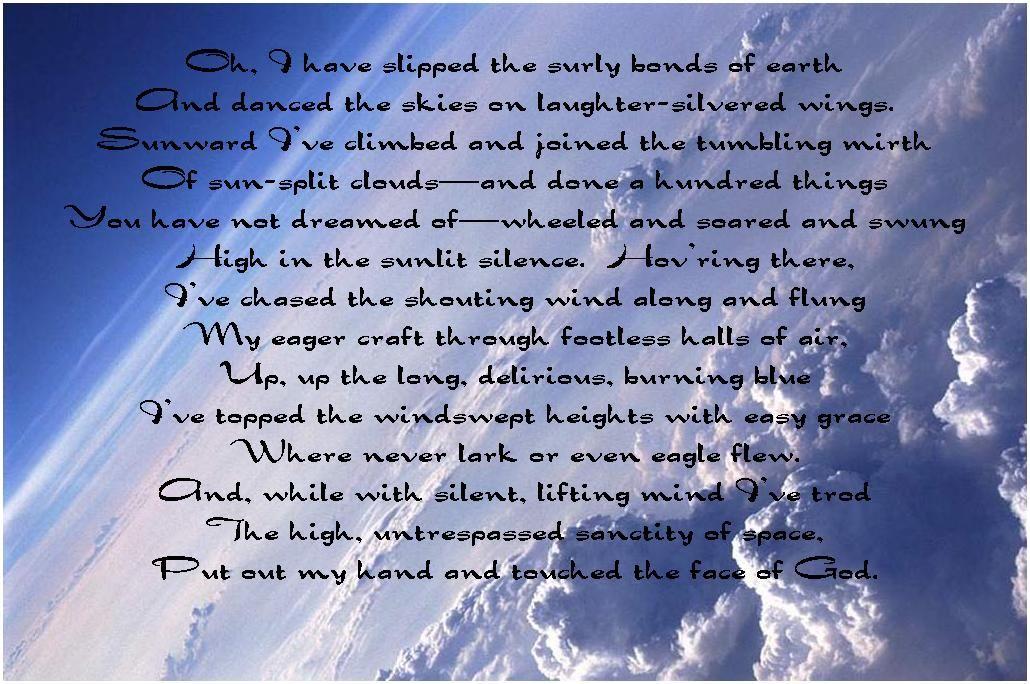High Flight John Gillespie Magee Jr Big Daddy Poems