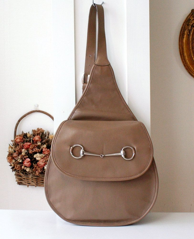 01a5308904f4 Gucci vintage backpack brown leather horsebit sling bag authentic by hfvin  on Etsy #gucci #vintage #backpack #brown #leather #horsebit #authentic  #hfvin