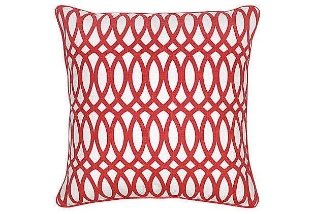 Geo 22x22 Cotton Pillow, Red on OneKingsLane.com