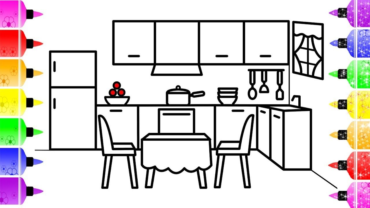 How To Draw A Kitchen For Kids Kitchen Coloring Book For Kids With Glitters Coloring Pages For Kids Coloring Books Coloring Pages
