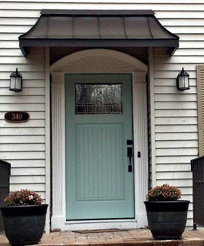 The Perfect Front Door Awning This Is The Bronze Juliet Style Awning By Www Designyourawning Com Metal Door Awning Front Door Awning Door Awnings