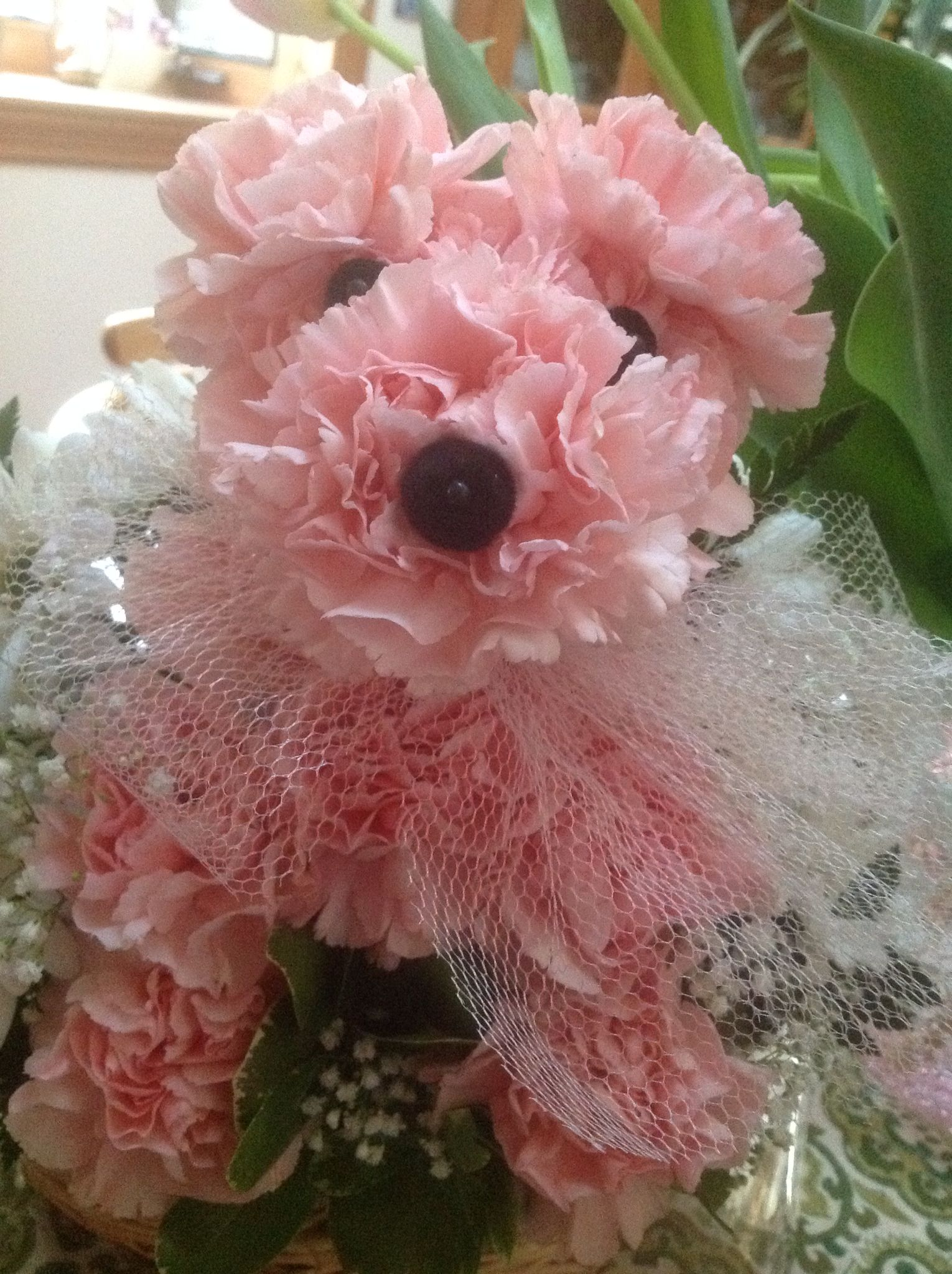 A Cute Dog Made Of Pink Carnations Good Things