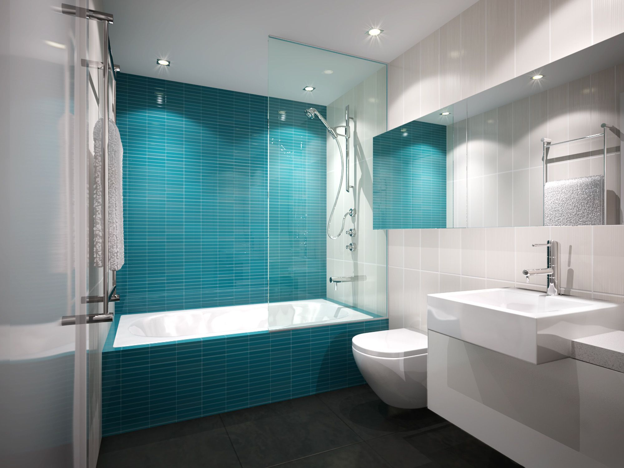 Loving the colour of this feature tile wall | Bathroom tile ...