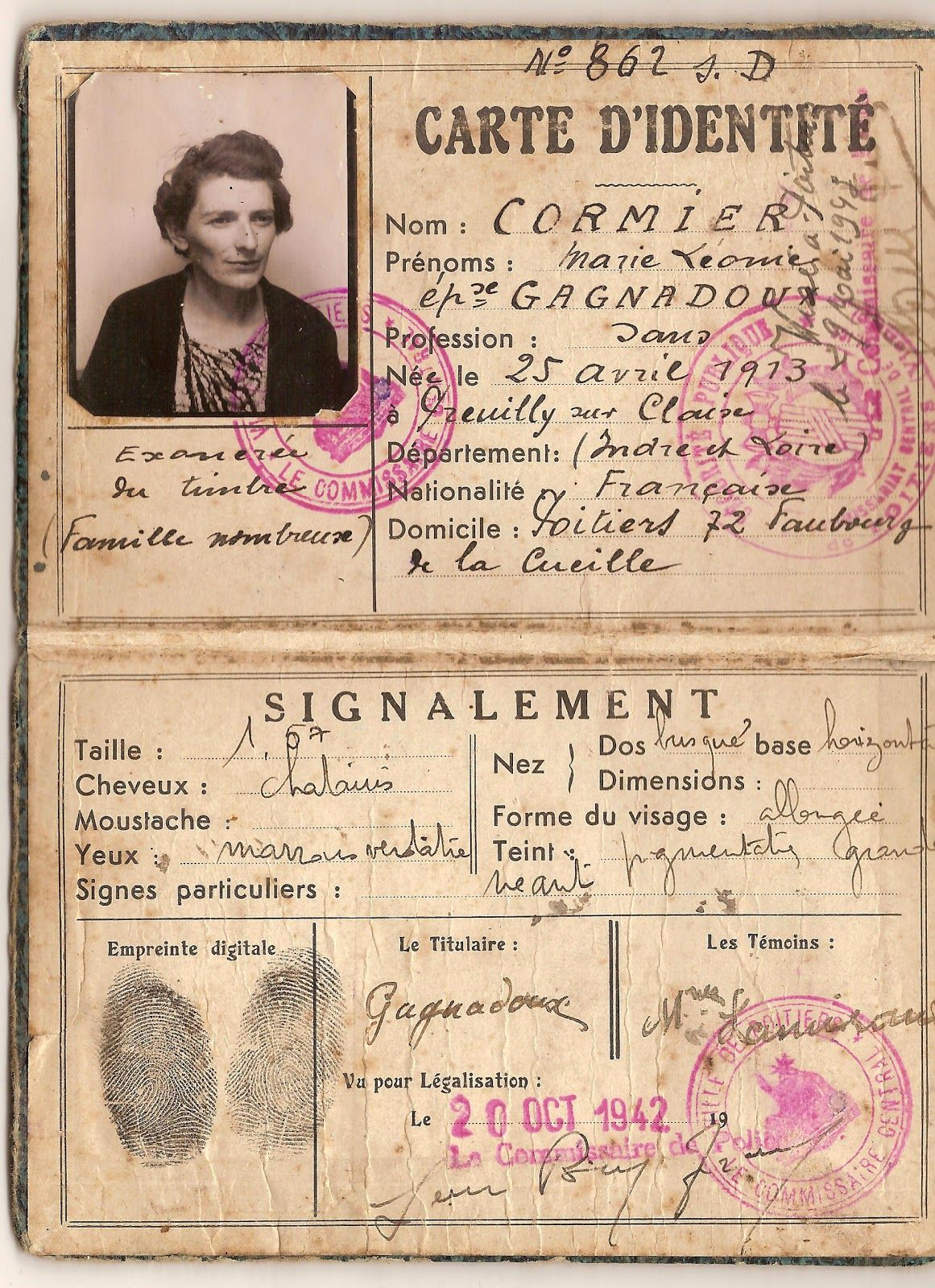 Epingle Par Catherine Bruyelle Sur Cartes D Identites Anciennes