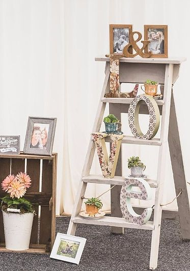 Vintage Wooden Step Ladders Wedding Prop With Love Sign Tea Cups