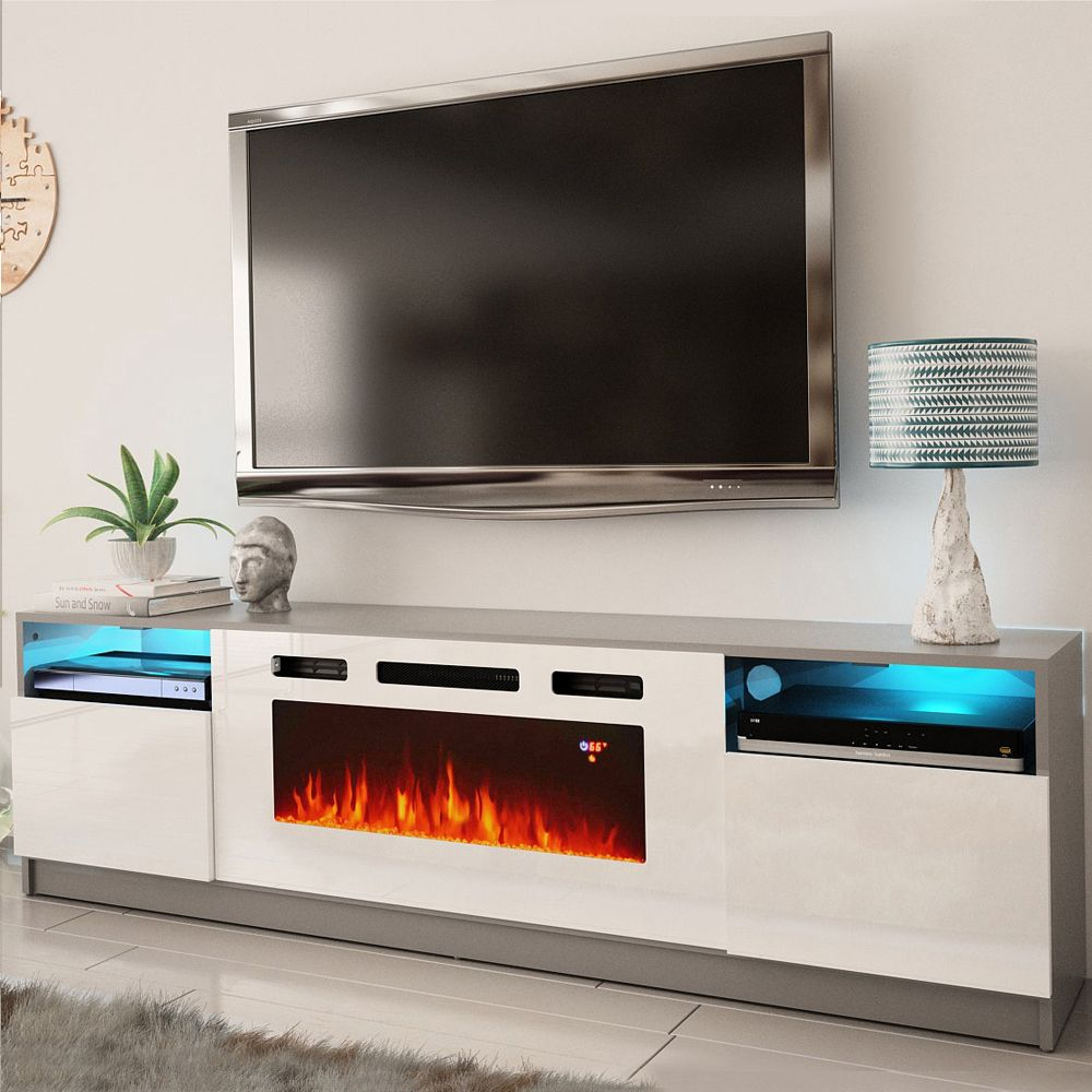 York Wh02 Gray White Tv Stand York Meble Furniture Tv Stands In 2020 Fireplace Tv Stand Electric Fireplace Tv Stand Modern Tv Stand