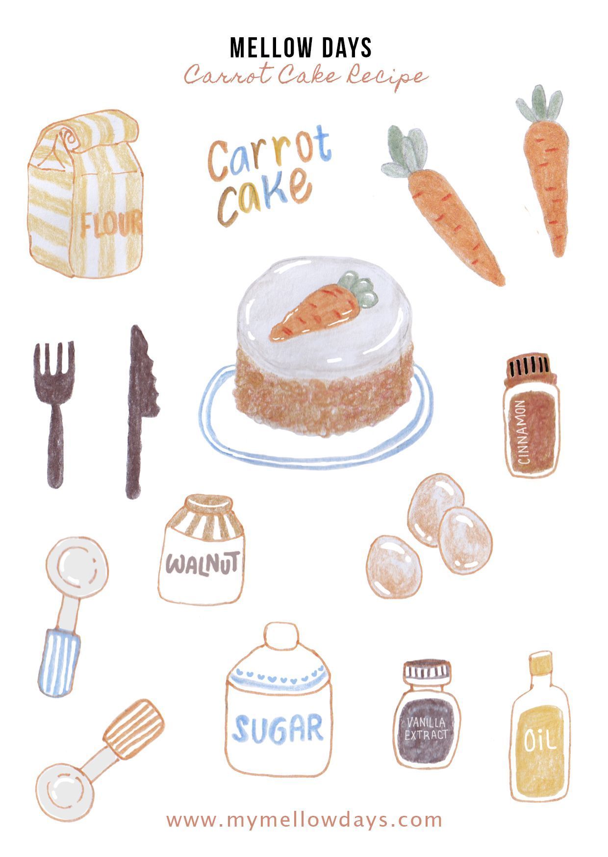 Printable for Bujo Free Stickers Recipe Carrot Cake in