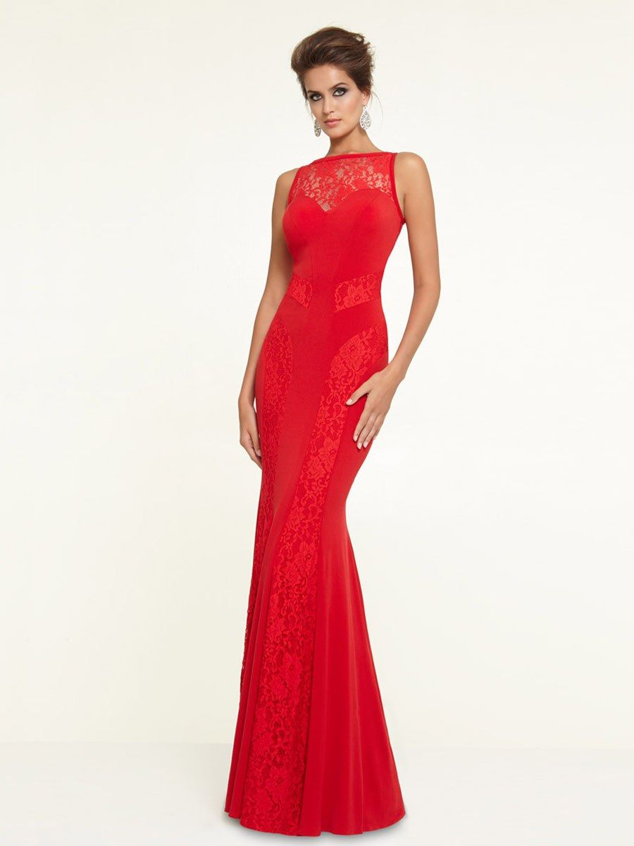 Fashion floorlength sleeveless high neck trumpetmermaid lace red