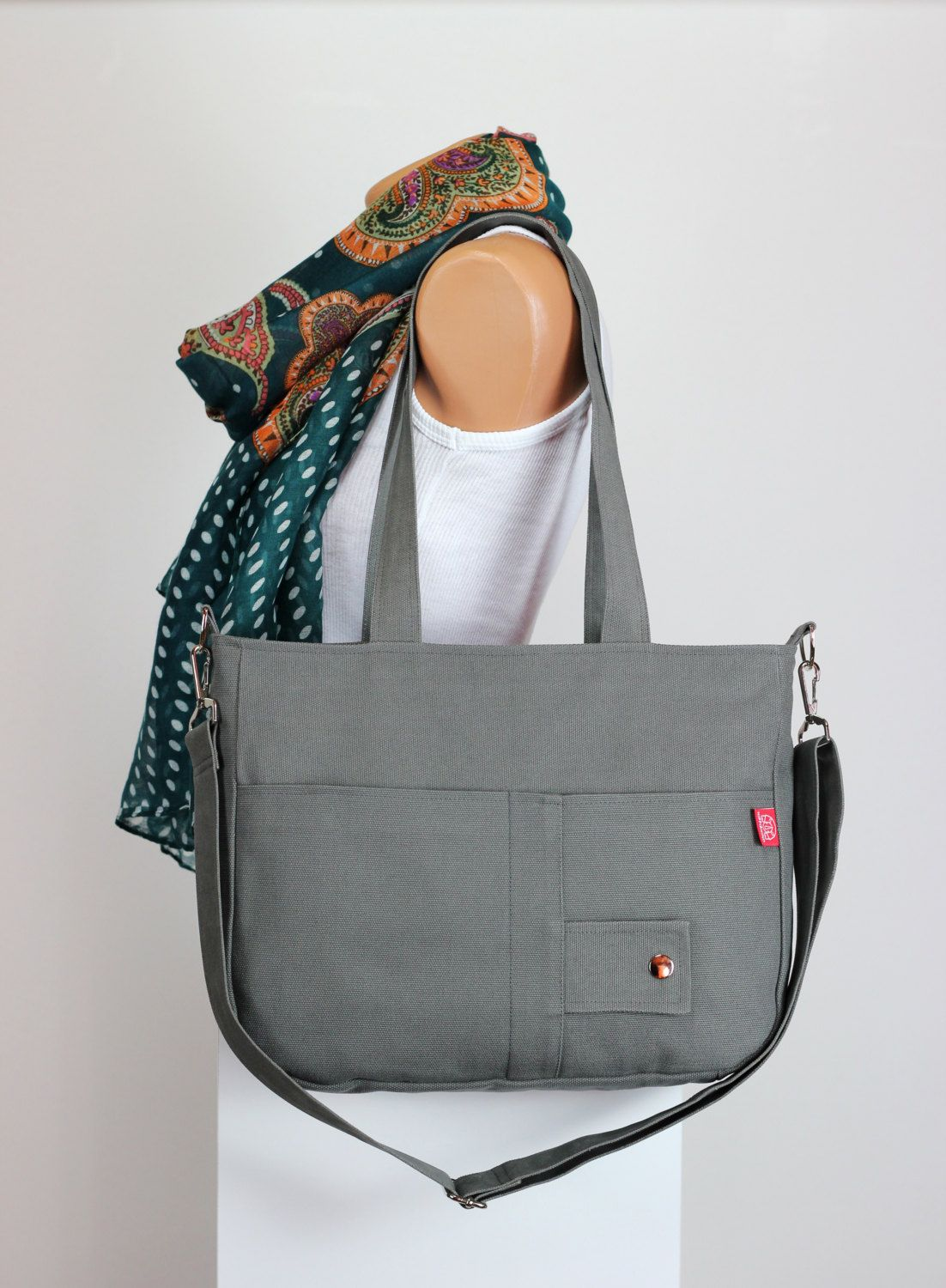 37 Gray Bag Handmade Washable Double Adjule Removable Strap Two Pocket Shoulder Hang Purse