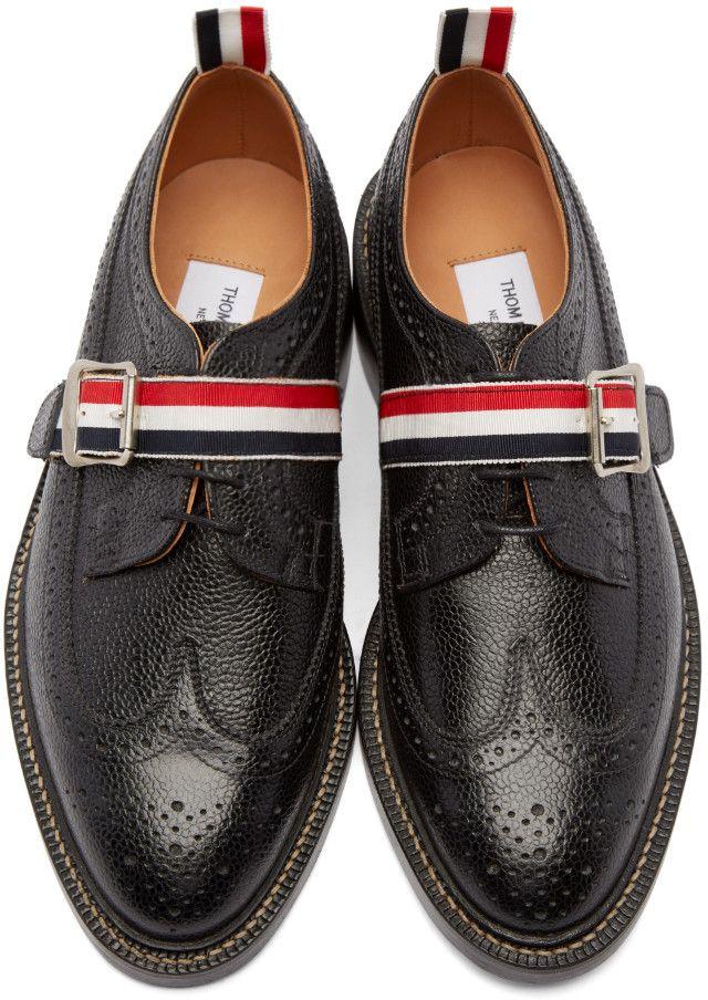 Thom Browne Black Leather Strap Brogues
